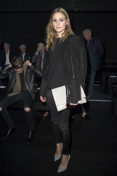 sweater olivia palermo sunglasses jacket shoes bag purse black pants
