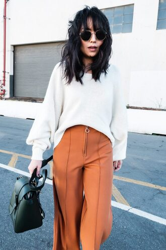 the fancy pants report blogger pants sweater coat shoes sunglasses bag white sweater orange pants winter outfits