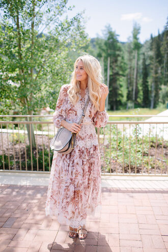 ivory lane blogger dress shoes bag jewels floral dress pink dress grey bag shoulder bag long sleeves maxi dress flats lace dress silver sandals valentino rockstud