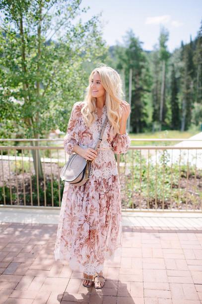 19e041c3f1f0 ivory lane blogger dress shoes bag jewels floral dress pink dress grey bag  shoulder bag long