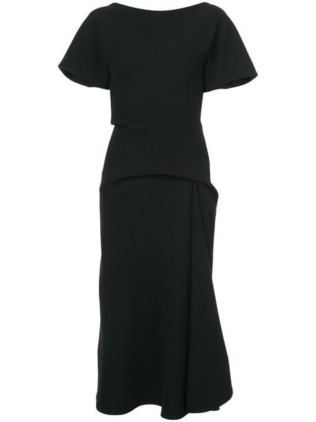 MATICEVSKI dress midi dress women midi spandex draped black silk