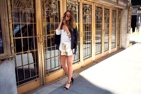 lisa olsson blogger jacket shorts shirt shoes