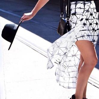 skirt black white black and white slit skirt hat