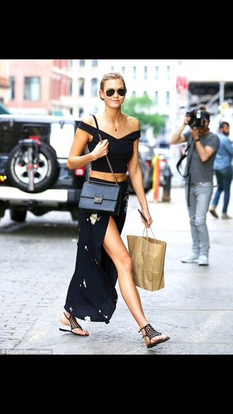 skirt sandals karlie kloss crop tops summer outfits sunglasses slit skirt shoes top slit maxi skirt