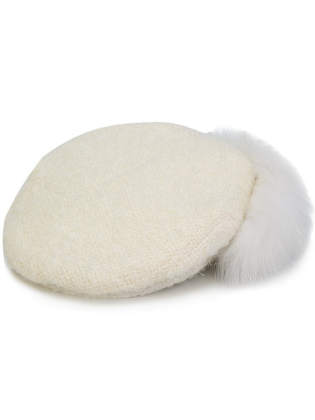 fur fox women hat white wool