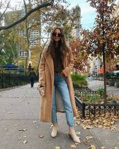 coat,long coat,teddy bear coat,jeans,ankle boots,suede boots,round sunglasses,blouse