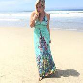 dress,mint,floral maxi dress,criss cross