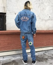 jacket,guess denim jacket,guess,denim jacket,90s style,vintage,patch,embroidered