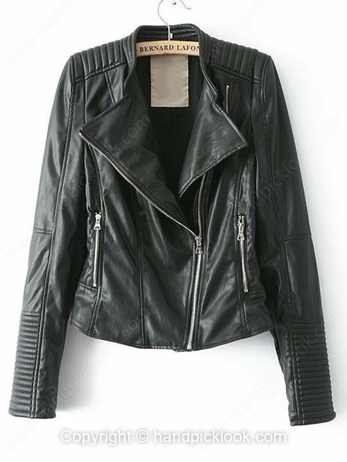 Black Long Sleeve Zip Embellished Leather Coat - HandpickLook.com