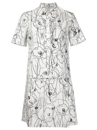 dress shirt dress print white