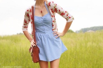 dress blue denim cute style me cardigan purse hat back to school denim dress