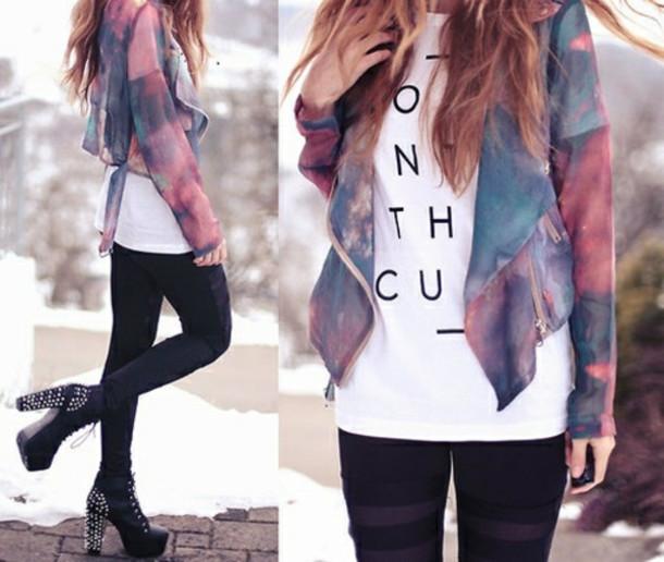 jacket galaxy print watercolor space colorful galaxy print true rebel clothing