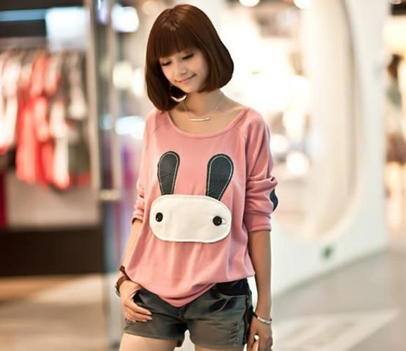 oversized t-shirt sweater kfashion bunny pink