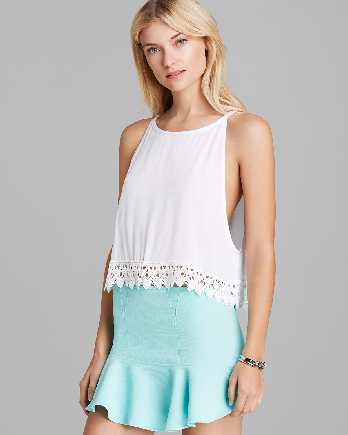 AQUA Tank- Crochet Bottom | Bloomingdale's