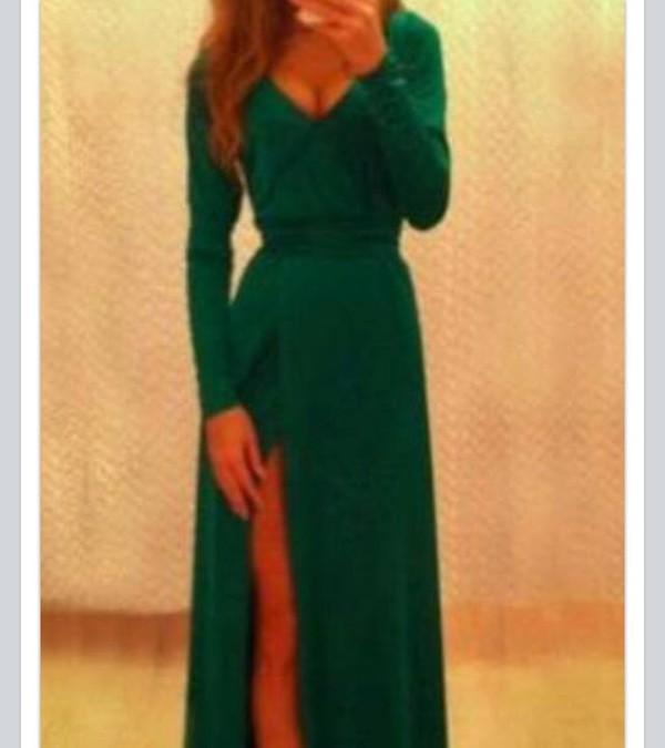 dress green slit long emerald green