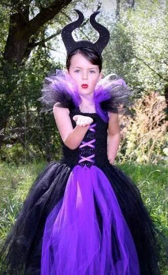 halloween halloween costume maleficent girly fashion girl kids fashion purple dress halloween party