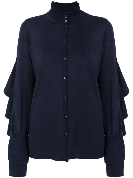 Circus Hotel cardigan cardigan ruffle women blue wool sweater
