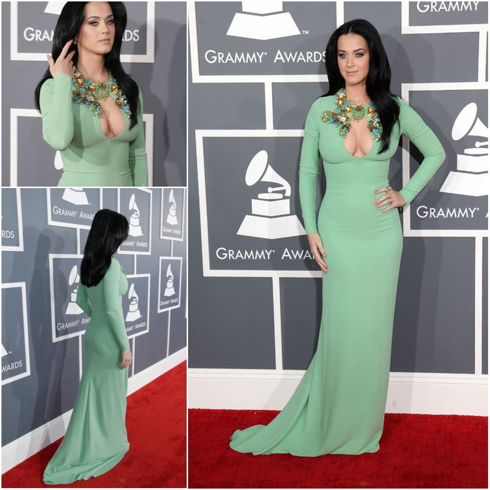 Free Shipping 55th Grammy Awards Sexy New V Neck Green Long Sleeve Sheath Katy Perry Celebrity Prom Dresses evening gowns 2013-in Celebrity-Inspired Dresses from Apparel & Accessories on Aliexpress.com