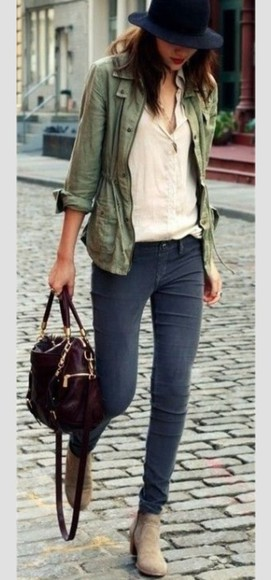 bag leather bag shoes boots fall outfits ankle boots nude army green jacket