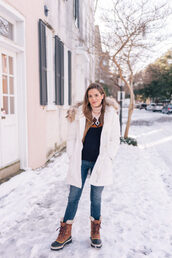 gal meets glam,blogger,coat,sweater,jeans,shoes,duck boots,winter outfits,winter sweater,winter coat,winter boots,white coat