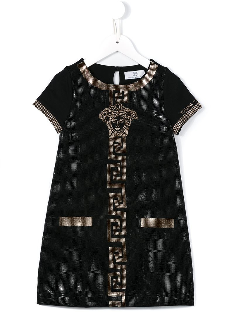 Black t shirt for toddler - Young Versace Crystal Embellished Medusa Dress Toddler Girl S Size 5 Yrs Black