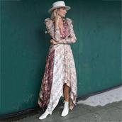 dress,asymmetrical dress,silk dress,v neck dress,puffed sleeves,white boots,sock boots,hat