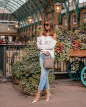 jeans,ripped jeans,cropped jeans,pumps,off the shoulder top,sunglasses,handbag