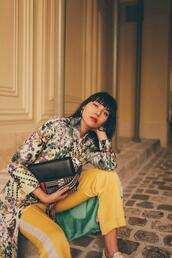 natalie off duty,blogger,jacket,bag,scarf,pants,shoes,yellow pants,floral jacket,spring outfits