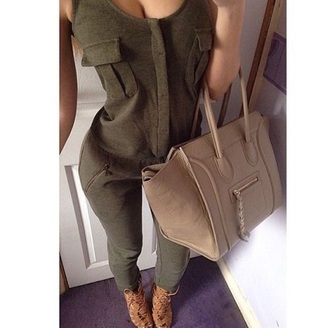 sexy jumpsuit olive green nude bag signer bag handbag strappy shoes jumpsuit one piece cleavage pockets