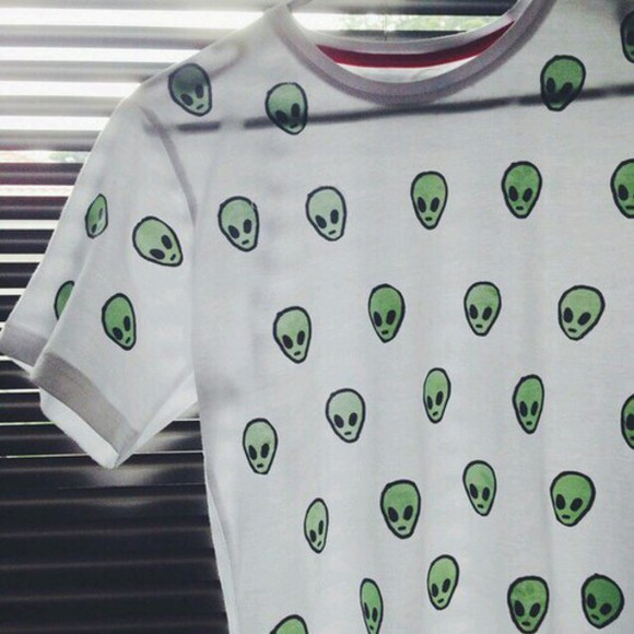 green hipster alien ufo tumblr t-shirt teens