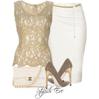 blouse belt skirt embroidered blouse sleeveless high heels clutch purse chain belt