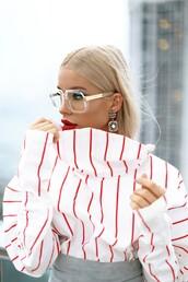 sunglasses,tumblr,glasses,earrings,silver earrings,jewels,jewelry,silver jewelry,blouse,top,stripes,striped top,lipstick,lips,red lipstick,make-up,hair,blonde hair