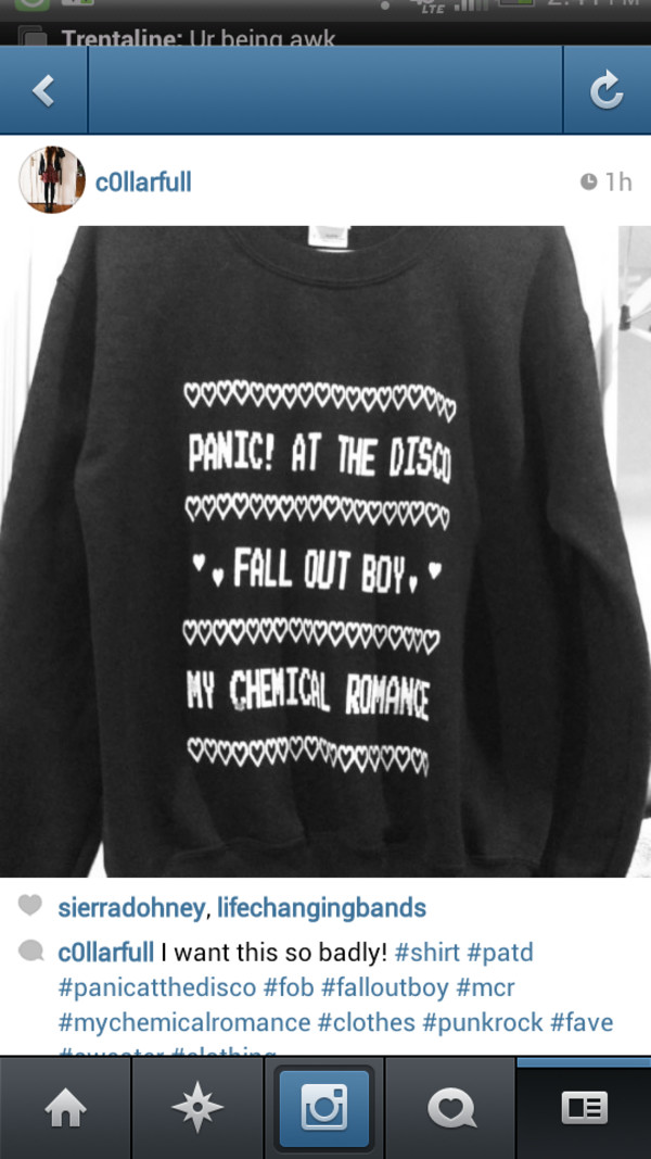 sweater fall out boy panic! at the disco