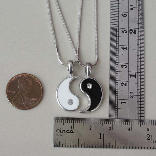 Split YIN Yang Friendship Best Friend Silver Pewter Pendant With Snake Necklace | eBay