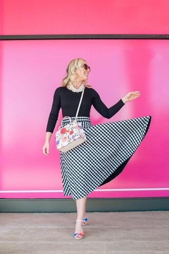lemon stripes blogger skirt bag shoes jewels sunglasses sandals high heel sandals midi skirt spring outfits