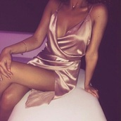 dress,rose gold,satin,silk,champagne dress,silk dress