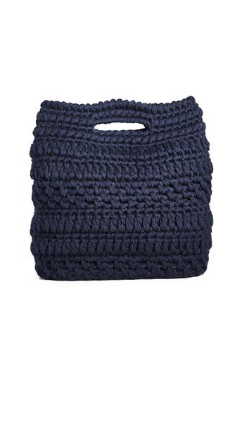 clutch wool knit navy bag