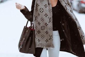 scarf louis vuitton black brown beige prada love fasionpieces_