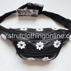 Strut Clothing |   'Daisy Stud' – Black Leather Festival Bum Bag