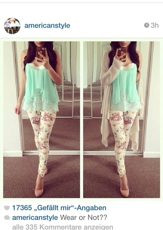 t-shirt phone cover mint green shirt and floral tights with a cream color cardigan please help me find the whole outfit blouse gloves hair accessory jeans cardigan