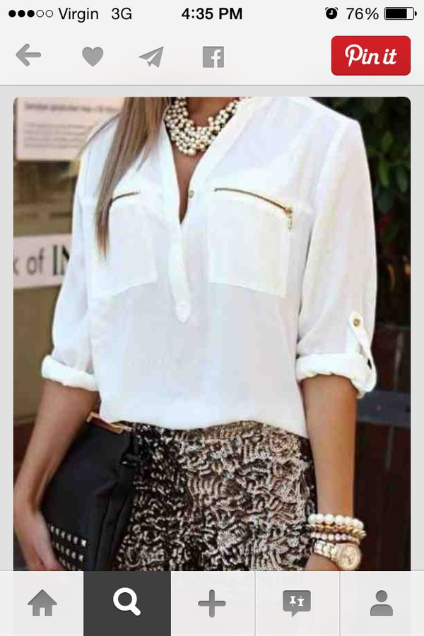 blouse white gold zip jewels shorts