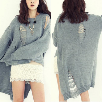 sweater style grey cardigan i4out look lookbook destroyed knitted streetwear streetstyle knitted cardigan grey cardigan fall outfits