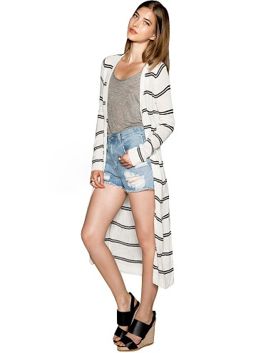 Stripe Long Cardigan - Thin Summer Stripe Sweater -$56