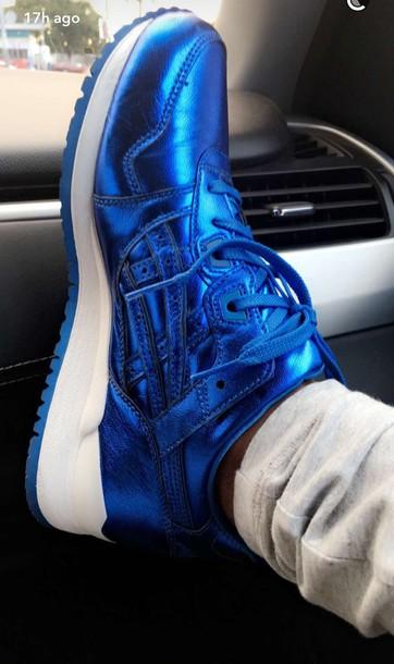 Shoes Metallic Metallic Shoes Blue Shiny Dej Loaf Tennis Shoes Royal Blue Wheretoget
