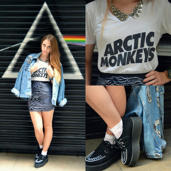 t-shirt skirt denim jacket arctic monkeys bands band t-shirt black and white grunge shoes grunge patterned skirt necklace jewels