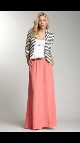 skirt pink pink skirt flowy blazer black and white black and white stripes maxi maxi skirt maxi dress style fashion stripes