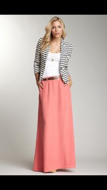 skirt pink pink skirt flowy blazer black and white black and white stripes maxi maxi skirt maxi dress style fashion stripes