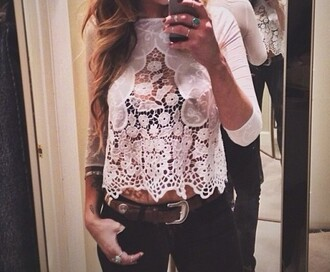 crop tops floral shirt lace scalloped crochet