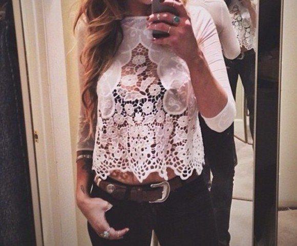 shirt scalloped lace crop tops crochet floral