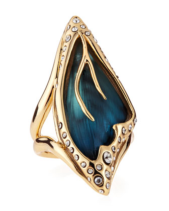 Alexis Bittar Pave Crystal Butterfly Wing Ring, Azure - Neiman Marcus